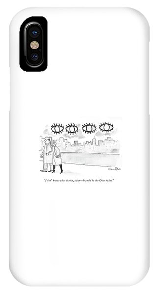 Two Large Sets Of Eyes Loom Over City Skyline. IPhone Case
