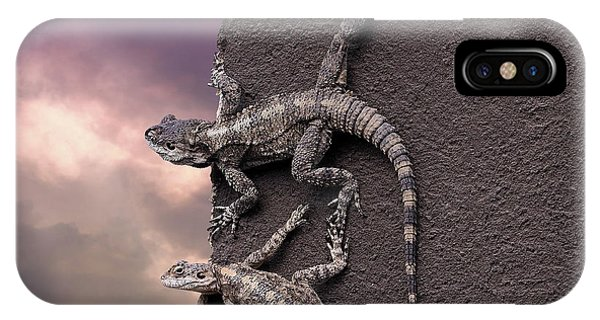 Two Lizards On The Edge Of The Roof IPhone Case