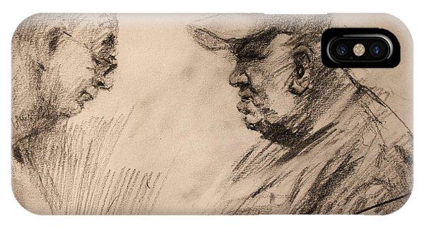 Sketch iPhone Case - Two Men by Ylli Haruni