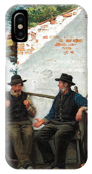 Table For Two iPhone Case - Two Old Men Sitting In The Shadow. Hornbaek by Carl Heinrich Bloch