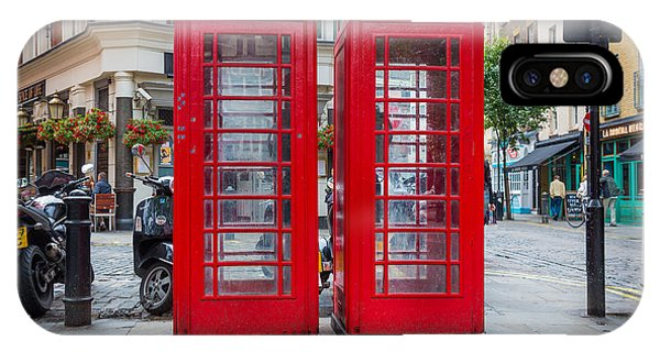 Antiquated iPhone Case - Two Phone Booths In London by Inge Johnsson