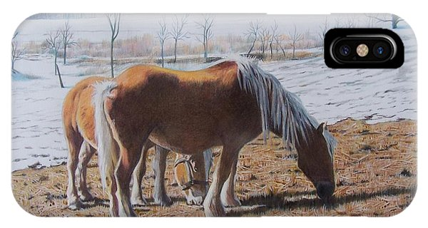 Two Ponies In The Snow IPhone Case