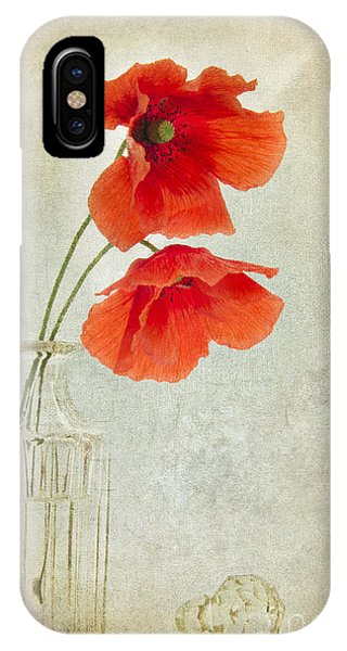 Poppies iPhone Case - Two Poppies In A Glass Vase by Ann Garrett