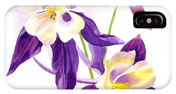 Red-violet iPhone Case - Two Purple Columbine Flower Square Design by Sharon Freeman