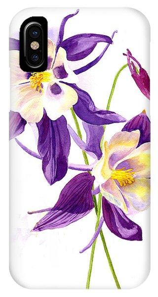 Violet iPhone Case - Two Purple Columbine Flowers by Sharon Freeman