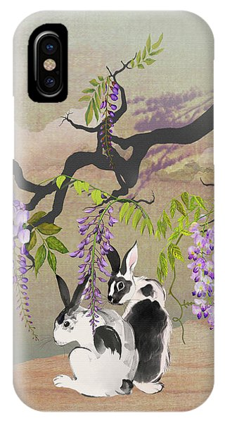 Two Rabbits Under Wisteria Tree IPhone Case