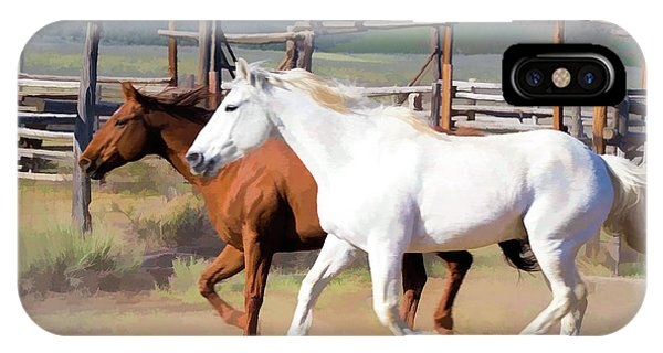 Two Ranch Horses Galloping Into The Corrals IPhone Case