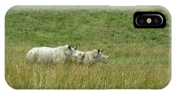 Two Rhino In The Grass Phone Case by George Jones