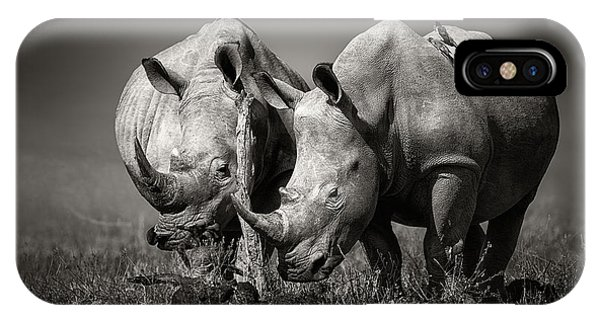 Two Rhinoceros With Birds In Bw IPhone Case