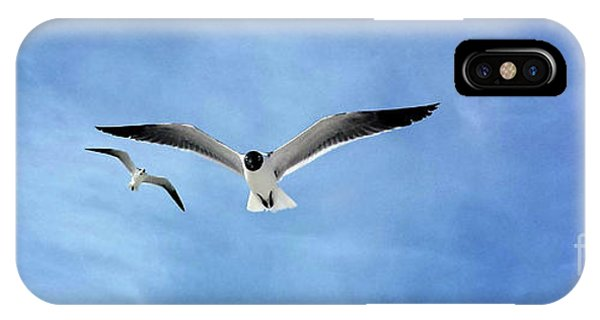 Two Seagulls Against A Blue Sky IPhone Case