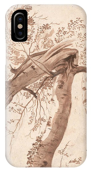 Baroque iPhone Case - Two Silver Birches, The Front One Fallen by Nicolas Poussin
