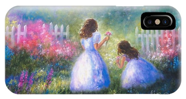 Girls In Pink iPhone Case - Two Sisters In The Garden by Vickie Wade