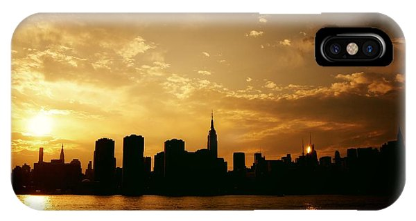 City Sunset iPhone Case - Two Suns - The New York City Skyline In Silhouette At Sunset by Vivienne Gucwa