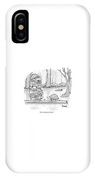Turtle iPhone X Case - Two Tortoises Speak. One Has A Large Number by Benjamin Schwartz