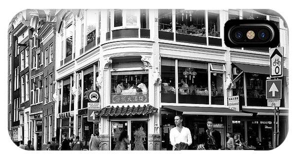 Two Walking In Amsterdam Mono Phone Case by John Rizzuto