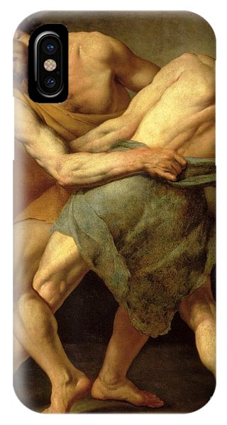 Struggle iPhone Case - Two Wrestlers by Cesare Francazano