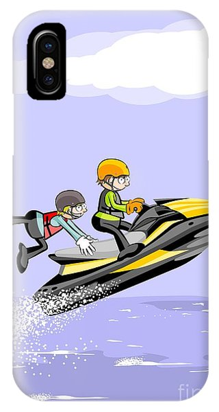 Jet Ski iPhone Case - Two Young Friends Jump In The Sea On A Fast Jet Ski by Daniel Ghioldi