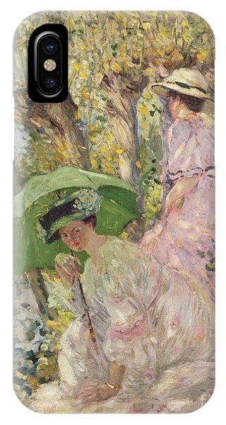 Girls In Pink iPhone Case - Two Young Girls In A Garden by Frederick Carl Frieseke