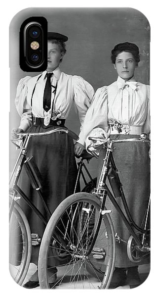 Two Young Ladies With Their Bicycles Circa 1895 IPhone Case