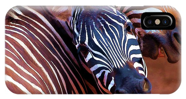 IPhone Case featuring the mixed media Two Zebras Playing With Each Other by OLena Art Brand