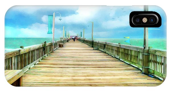 Tybee Island Pier In Watercolor IPhone Case
