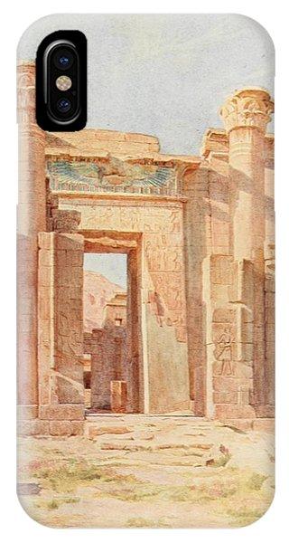 Pylon iPhone Case - Tyndale, Walter 1855-1943 - Below The Cataracts 1907, The Ptolemaic Pylon, Medinet Habu by Walter Tyndale