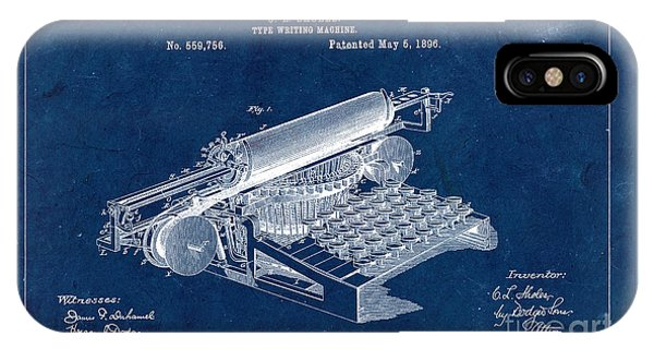 Type Writing Machine Patent From 1896 - Blue IPhone Case