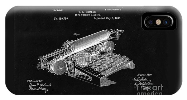 Type Writing Machine Patent From 1896  - Black IPhone Case