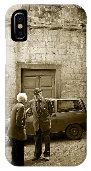 IPhone Case featuring the photograph Typical Italian Street Scene In Sepia by IPics Photography