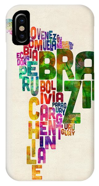 Map iPhone Case - Typography Map Of Central And South America by Michael Tompsett