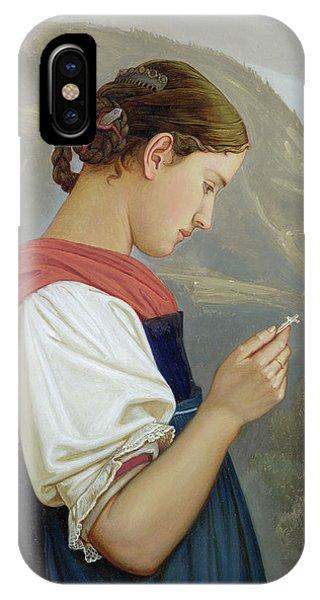Deep Thought iPhone Case - Tyrolean Girl Contemplating A Crucifix by Rudolph Friedrich Wasmann