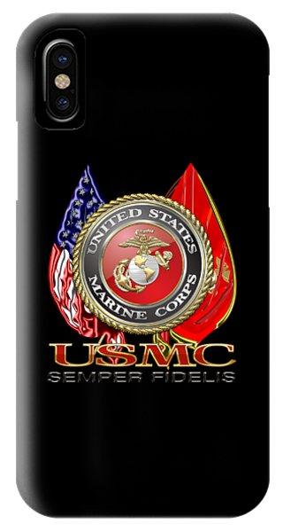 U. S. Marine Corps U S M C Emblem On Black IPhone Case