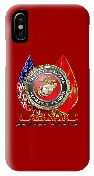 U. S. Marine Corps U S M C Emblem On Red IPhone Case