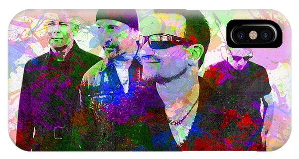 U2 Band Portrait Paint Splatters Pop Art IPhone Case
