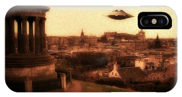 Saucer iPhone Case - Ufo Edinburgh by Raphael Terra