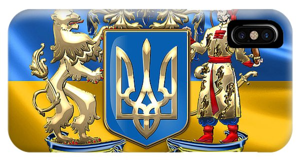 Patriotic iPhone Case - Ukraine - Greater Coat Of Arms  by Serge Averbukh