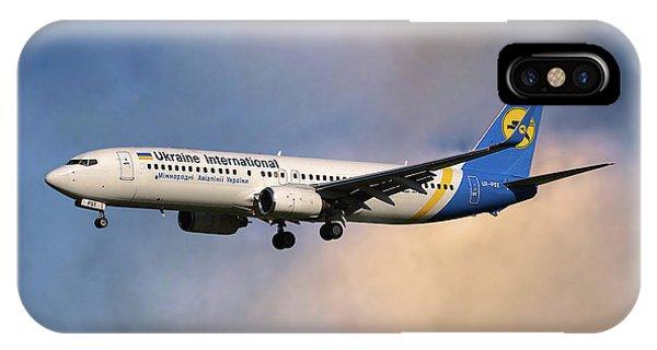 Airline iPhone Case - Ukraine International Airlines Boeing 737-8eh by Smart Aviation