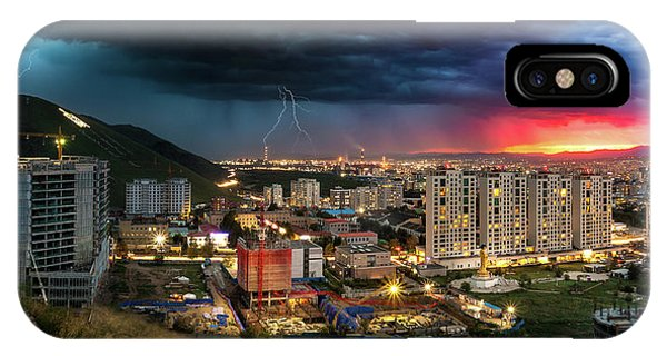 Ulaanbaatar Sunset Thunderstorm IPhone Case