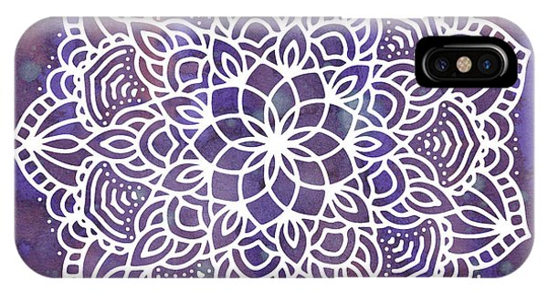 IPhone Case featuring the digital art Ultraviolet Mandala by Bee-Bee Deigner