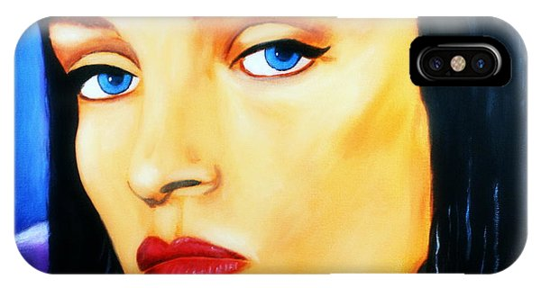 IPhone Case featuring the painting Uma Thurman In Pulp Fiction by Bob Baker
