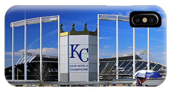 Umbrella Man At Kauffman Stadium IPhone Case