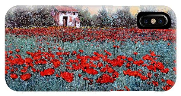 Poppies iPhone Case - Un Campo Di Papaveri by Guido Borelli