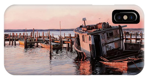 Docked Boats iPhone Case - Un Relitto by Guido Borelli