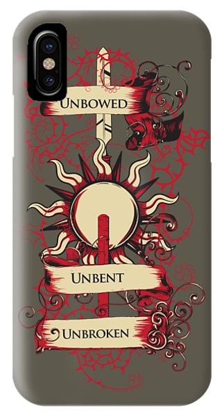 IPhone Case featuring the digital art Unbowed Unbent Unbroken by Christopher Meade