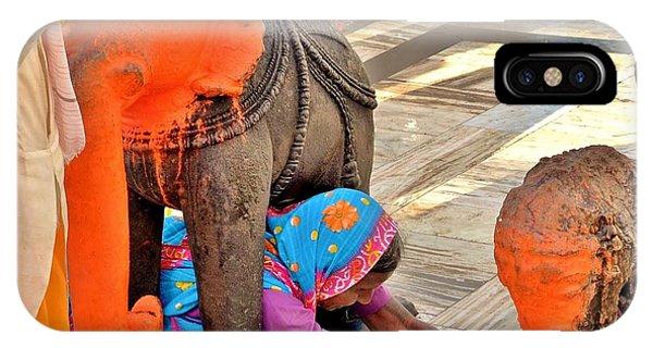 Under The Elephant - Narmada Temple At Arkantak India IPhone Case