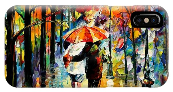 Afremov iPhone X Case - Under The Red Umbrella by Leonid Afremov