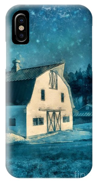 Barn Snow iPhone Case - Under The Vermont Moonlight Watercolor by Edward Fielding