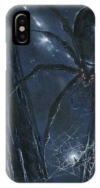 IPhone Case featuring the painting Ungoliant Ensnares Morgoth by Kip Rasmussen