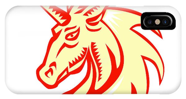 Unicorn iPhone Case - Unicorn Horse Head Side Woodcut by Aloysius Patrimonio
