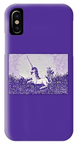 IPhone Case featuring the digital art Unicorn In Purple by Lise Winne